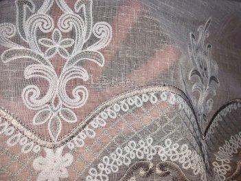 Гардина с вышивкой BRISTOL 6991, цвет серый V-2
