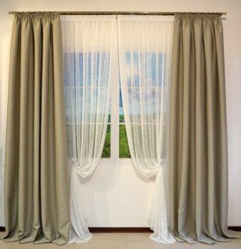 Готовые шторы блекаут CLOUD серо - бежевого цвета BEJ 10330 (2 шт х 1,5 м)