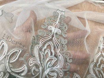 Гардина с вышивкой BRISTOL 4548, цвет серый V-3