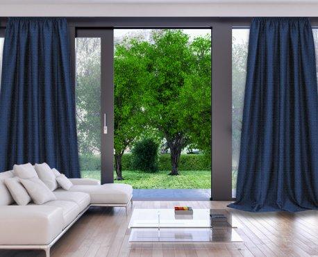 Готовые шторы DIMOUT CAMARO синего цвета  (2 шт х 1,5 м) недорого