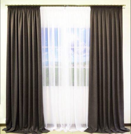 Комплект 2 готовые шторы из ткани DIAMОND серый и белый тюль Vual недорого