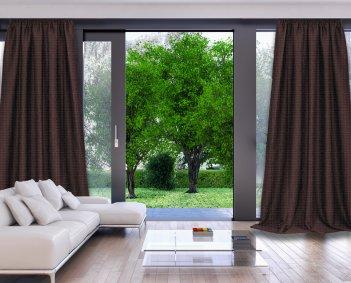 Готовые шторы DIMOUT CAMARO коричневого цвета  (2 шт х 1,5 м)