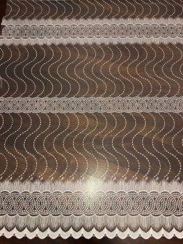 Тюль молочного цвета с вышивкой, арт 1005