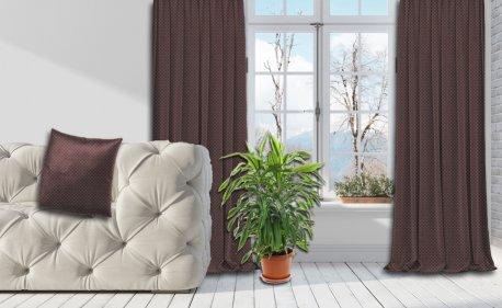 Готовые шторы SPARTA KETEN коричневого цвета  (2 шт х 1,5 м) недорого