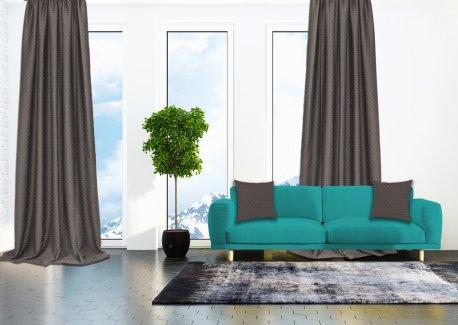 Готовые шторы SPARTA KETEN серо - бежевого цвета  (2 шт х 1,5 м) недорого