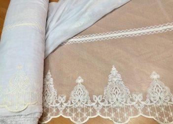 Гардина с вышивкой BRISTOL 4548, цвет молочный V-1
