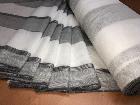 Тюль MAKARA с серыми полосами недорого