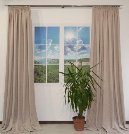 Комплект их 2-х штор из ткани DIAMND бежевого цвета шириной 2,0 метра кажая недорого