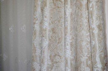 """Ткань для штор и мебели """"Фортуна"""" светло оливковый узор"""