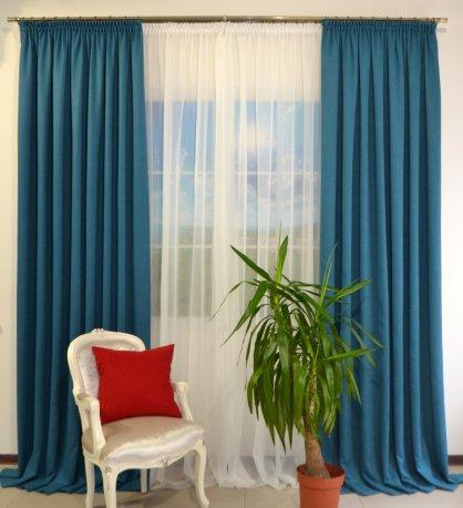 Комплект 2 готовые шторы из портьеры DIAMND 18 и белый тюль Vual недорого