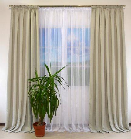 Комплект готовых шторх из ткани DIAMОND светло-серой 2 х 2м и белый тюль Vual 2 х 3м недорого