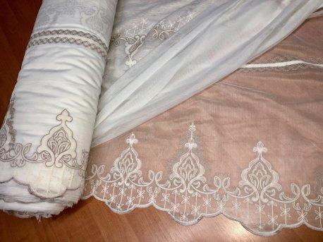Гардина с вышивкой BRISTOL 4548, цвет бежевый недорого