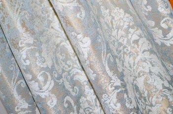"""Ткань для штор и мебели """"Фортуна"""" золотисто-бирюзовый узор"""