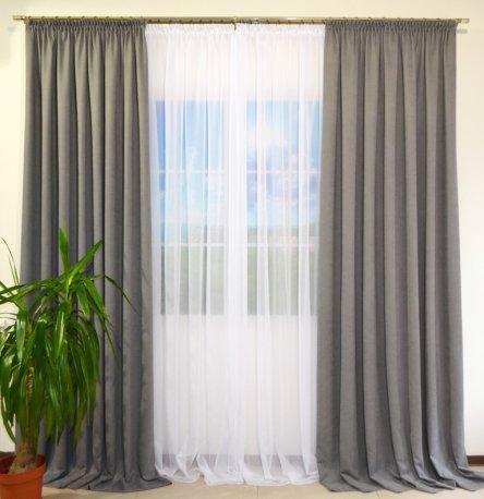 Комплект 2 готовые шторы из ткани DIAMОND серый2 и белый тюль Vual недорого