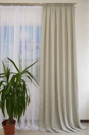 Комплект 1 готовая штора из ткани DIAMОND светло серый шириной 2 метра и Вуаль белая шириной 3 метра недорого