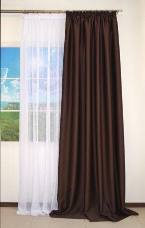Комплект Штора блекаут CLOUD коричневая шириной 1, 5 м и белый тюль недорого