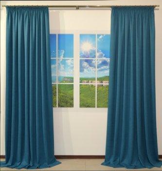 Готовые шторы DIAMOND бирюзового цвета, комплект 2 шторы 1,5 м х 2,65 м