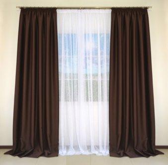 Комплект 2-х штор из Блекаута CLOUD коричневого шириной по 1,5 метра