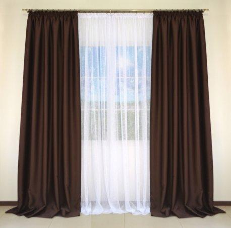 Комплект 2-х штор из Блекаута CLOUD коричневого шириной по 1,5 метра недорого