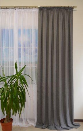 Комплект 1 штора из ткани DIAMОND серый2 и Вуаль белая шириной 3 метра недорого