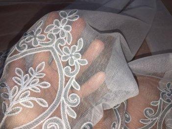 Гардина с вышивкой BRISTOL, цвет серый V-3