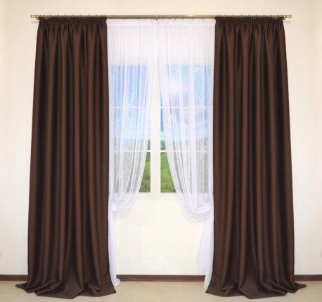 Комплект 2-х штор из коричневого блекаута CLOUD шириной по 2,0 метра недорого