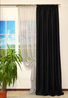 Комплект Штора блекаут CLOUD черная шириной 1, 5 м и серый тюль