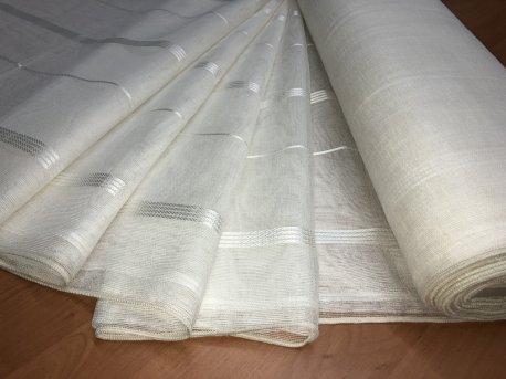 Тюль с полосой MAKARA молочная недорого