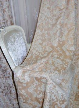 """Ткань для штор и мебели """"Фортуна"""" бежево-золотистый узор"""