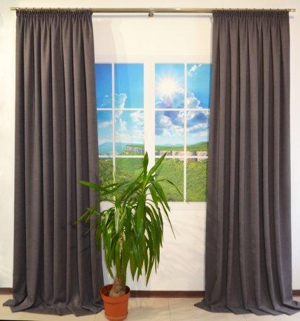 Комплект из 2-х готовых штор шириной по 1,5 метра из ткани DIAMОND серого2 цвета недорого