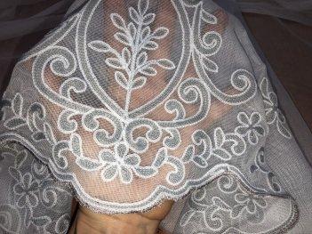 Гардина с вышивкой BRISTOL 6993, цвет серый V-3