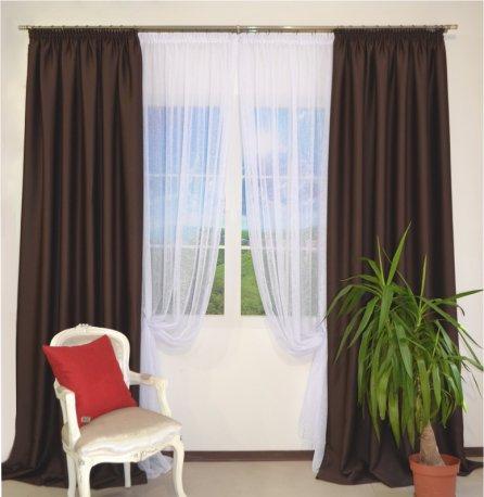 Комплект из 2-х штор из блекаута CLOUD коричневого шириной по 2,0 метра и белого тюля шириной 6 метров недорого