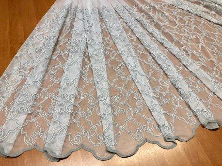 Гардина с вышивкой BRISTOL 9003, цвет серый  V-3 недорого