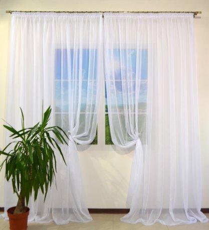Готовая пошитая гардина Вуаль белая шириной 6 метров недорого