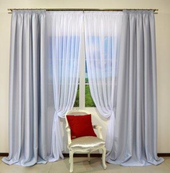 Готовые шторы блекаут CLOUD светло - серого цвета 10333 (2 шт х 1,5 м)