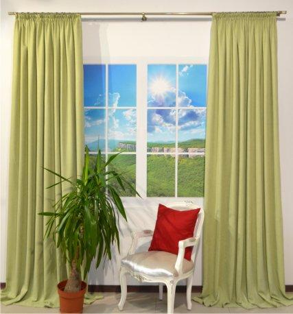 Комплект их 2-х штор из ткани DIAMОND салатового цвета шириной 1,5 метра кажая недорого
