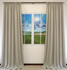 Комплект из 2-х готовых штор шириной по 1,5 метра из ткани DIAMОND светло-серого цвета
