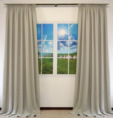 Комплект из 2-х готовых штор шириной по 1,5 метра из ткани DIAMОND светло серого цвета недорого