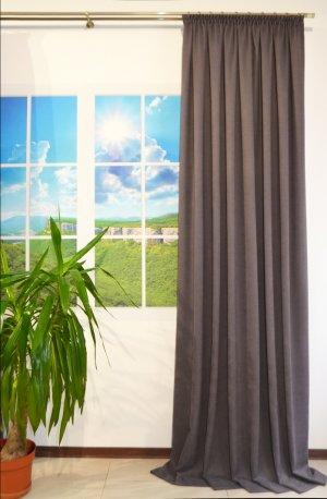 Готовая штора из ткани DIAMOND темно серый, ширина 2,0 метра недорого