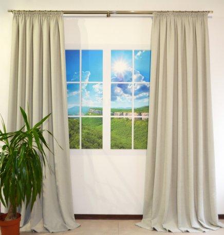 Комплект из 2-х готовых штор шириной по 2,0 метра из ткани DIAMОND светло серого цвета недорого