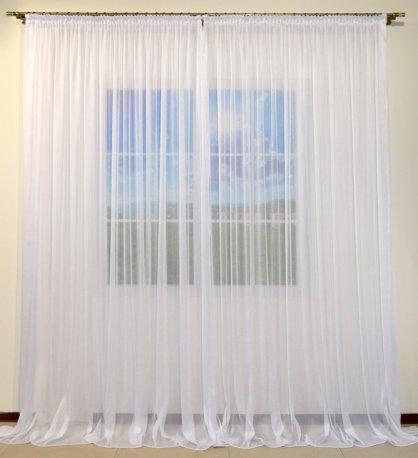 Готовая пошитая тюль-сеточка NET белая, ширина 5 метров недорого