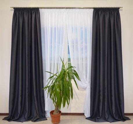 Готовые шторы блекаут CLOUD темно-серого цвета  (2 шт х 1,5 м) недорого
