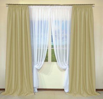 Готовые шторы из портьеры Diamond светло-бежевого цвета 03 A Bej (2 шт х 1,5 м)