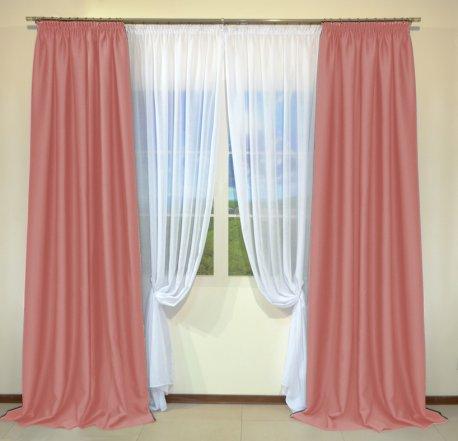 Готовые шторы из портьеры Diamond ярко-розового цвета 05 Pembe (2 шт х 1,5 м) недорого