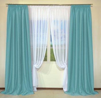 Готовые шторы из портьеры Diamond светло-бирюзового цвета 07 Turkuaz (2 шт х 1,5 м)