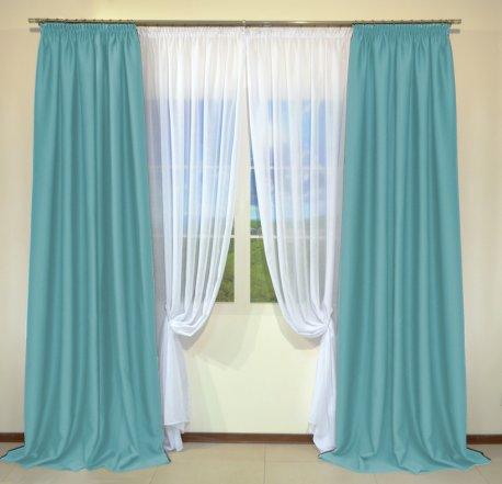 Готовые шторы из портьеры Diamond светло-бирюзового цвета 07 Turkuaz (2 шт х 1,5 м) недорого