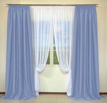 Готовые шторы из портьеры Diamond голубого цвета 08 Mavi (2 шт х 1,5 м)