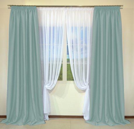 Готовые шторы из портьеры Diamond светло-бирюзового цвета 09 Mint (2 шт х 1,5 м) недорого