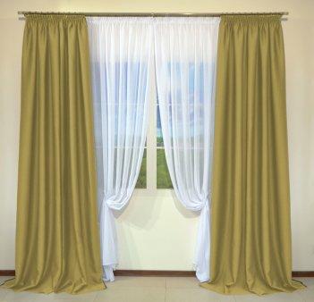 Готовые шторы из портьеры Diamond горчичного цвета 10 Deve Tuyu (2 шт х 1,5 м)