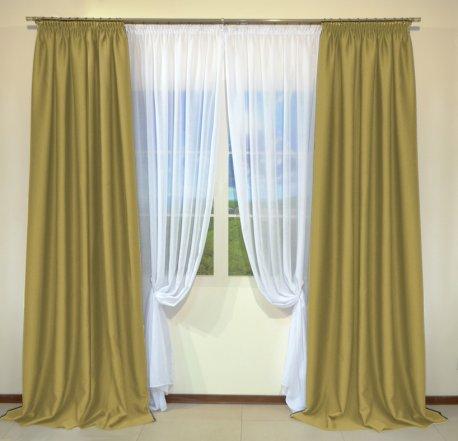 Готовые шторы из портьеры Diamond горчичного цвета 10 Deve Tuyu (2 шт х 1,5 м) недорого
